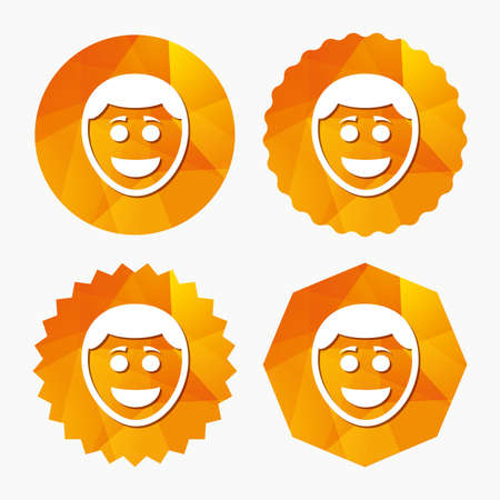 triangular eyes: Smile face sign icon. Happy smiley with hairstyle chat symbol. Triangular low poly buttons with flat icon. Vector