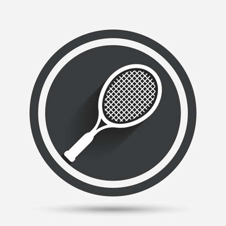 Tennis racket sign icon. Sport symbol. Circle flat button with shadow and border. Vector