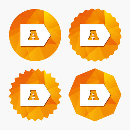 consumption: Energy efficiency class A sign icon. Energy consumption symbol. Triangular low poly buttons with flat icon. Vector