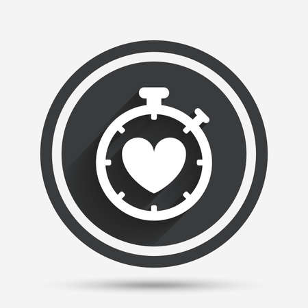 palpitation: Heart Timer sign icon. Stopwatch symbol. Heartbeat palpitation. Circle flat button with shadow and border. Vector Illustration