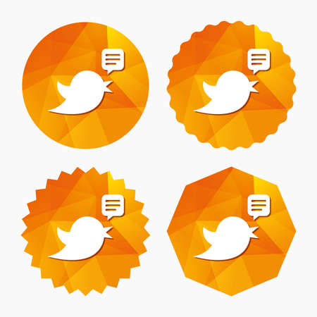 Bird icon. Social media sign. Speech bubble chat symbol. Triangular low poly buttons with flat icon. Vector Illustration