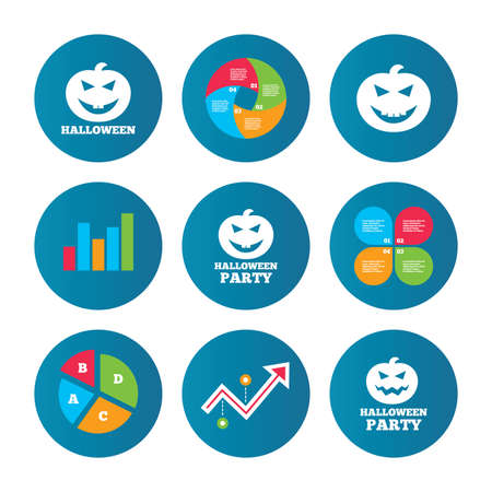 hallows: Business pie chart. Growth curve. Presentation buttons. Halloween pumpkin icons. Halloween party sign symbol. All Hallows Day celebration. Data analysis. Vector Illustration