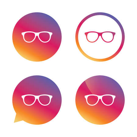eyeglass frame: Retro glasses sign icon. Eyeglass frame symbol. Gradient buttons with flat icon. Speech bubble sign. Vector