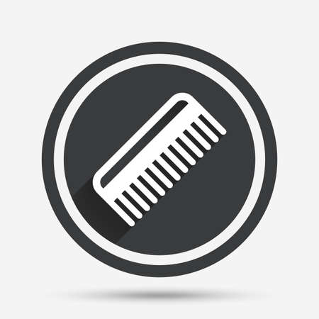 comb hair: Comb hair sign icon. Barber symbol. Circle flat button with shadow and border. Vector Illustration