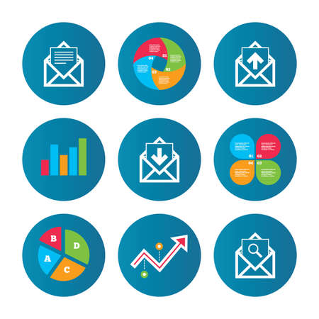 webmail: Business pie chart. Growth curve. Presentation buttons. Mail envelope icons. Find message document symbol. Post office letter signs. Inbox and outbox message icons. Data analysis. Vector Illustration