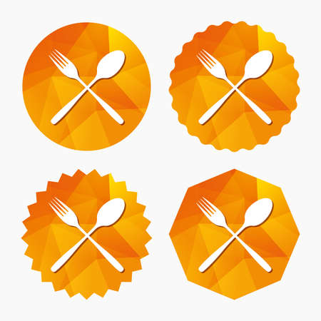 Eat sign icon. Cutlery symbol. Fork and spoon crosswise. Triangular low poly buttons with flat icon. Vector