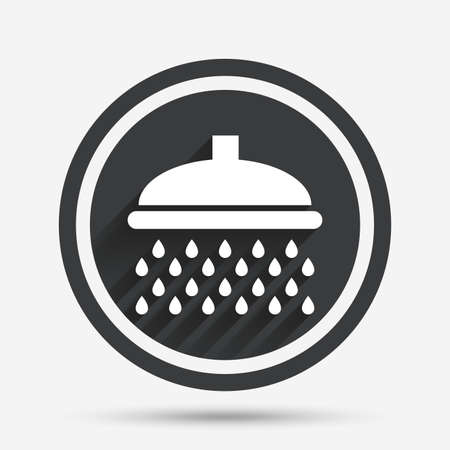douche: Shower sign icon. Douche with water drops symbol. Circle flat button with shadow and border. Vector