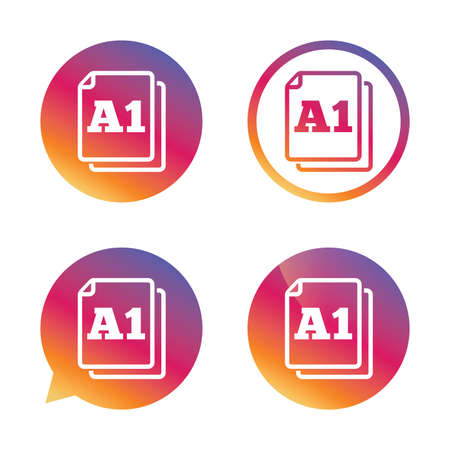 a1: Paper size A1 standard icon. File document symbol. Gradient buttons with flat icon. Speech bubble sign. Vector