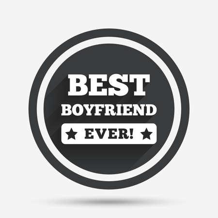 El mejor novio nunca icono de la muestra. símbolo de premio. Signo de exclamación. botón plano círculo con sombra y la frontera. Vector