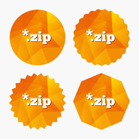 zipped: Archive file icon. Download compressed file button. ZIP zipped file extension symbol. Triangular low poly buttons with flat icon. Vector
