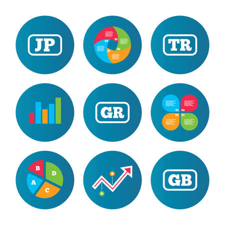 tr: Business pie chart. Growth curve. Presentation buttons. Language icons. JP, TR, GR and GB translation symbols. Japan, Turkey, Greece and England languages. Data analysis. Vector