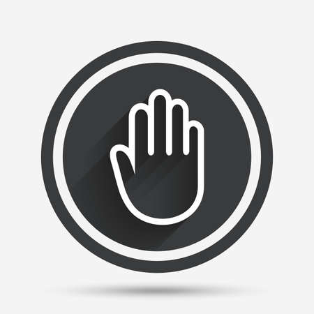 give me five: Hand sign icon. No Entry or stop symbol. Give me five. Circle flat button with shadow and border. Vector