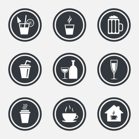 take away: Tea, coffee and beer icons. Beer, wine and cocktail signs. Take away drinks. Circle flat buttons with icons and border. Vector