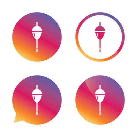 bobber: Fishing sign icon. Float bobber symbol. Fishing tackle. Gradient buttons with flat icon. Speech bubble sign. Vector