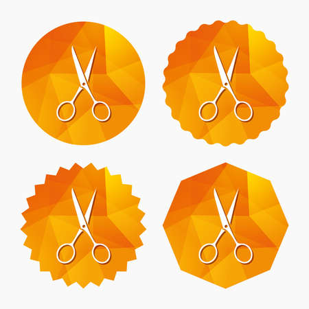 disclosed: Scissors hairdresser sign icon. Tailor symbol. Triangular low poly buttons with flat icon. Vector