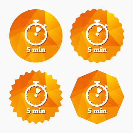 Timer sign icon. 5 minutes stopwatch symbol. Triangular low poly buttons with flat icon. Vector Illustration