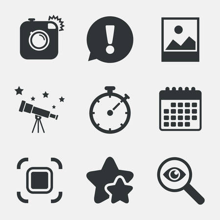 autofocus: Hipster retro photo camera icon. Autofocus zone symbol. Stopwatch timer sign. Landscape photo frame. Attention, investigate and stars icons. Telescope and calendar signs. Vector