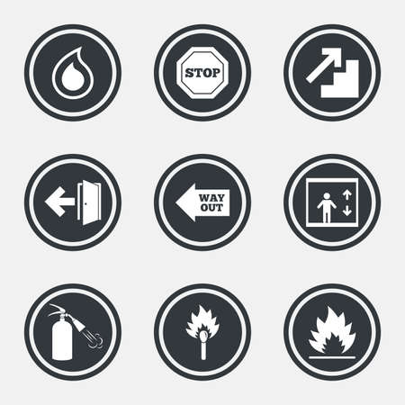 burn out: Fire safety, emergency icons. Fire extinguisher, exit and stop signs. Elevator, water drop and match symbols. Circle flat buttons with icons and border. Vector Illustration