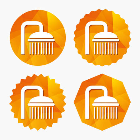 douche: Shower sign icon. Douche with water drops symbol. Triangular low poly buttons with flat icon. Vector Illustration