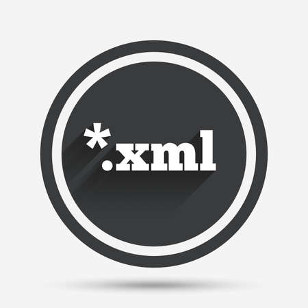 xml: File document icon. Download XML button. XML file extension symbol. Circle flat button with shadow and border. Vector