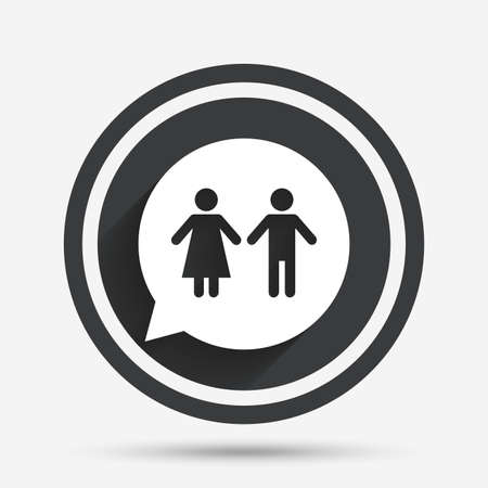 lavatory: Toilet sign icon. Restroom or lavatory speech bubble symbol. Circle flat button with shadow and border. Vector
