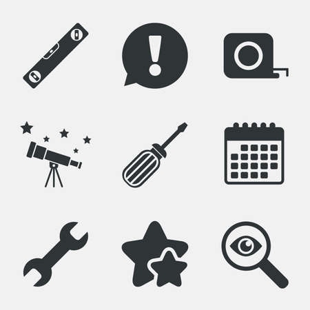 bubble level: Screwdriver and wrench key tool icons. Bubble level and tape measure roulette sign symbols. Attention, investigate and stars icons. Telescope and calendar signs. Vector