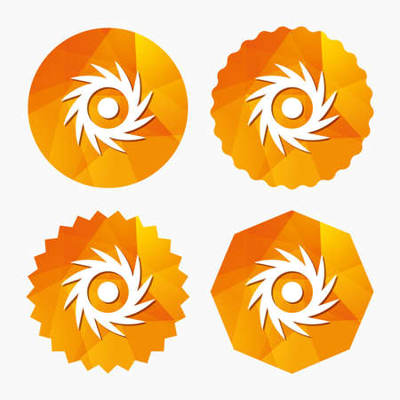 saw blade: Saw circular wheel sign icon. Cutting blade symbol. Triangular low poly buttons with flat icon. Vector Illustration