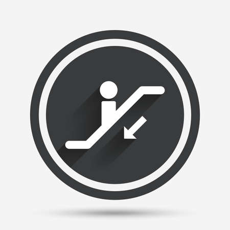 moving down: Escalator staircase icon. Elevator moving stairs down symbol. Circle flat button with shadow and border. Vector Illustration