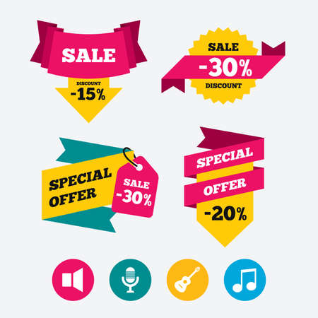 sound speaker: Musical elements icons. Microphone and Sound speaker symbols. Music note and acoustic guitar signs. Web stickers, banners and labels. Sale discount tags. Special offer signs. Vector