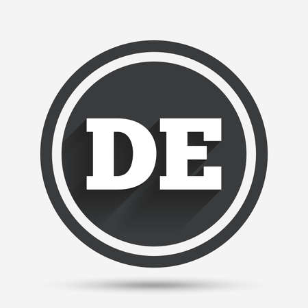 deutschland: German language sign icon. DE Deutschland translation symbol. Circle flat button with shadow and border. Vector