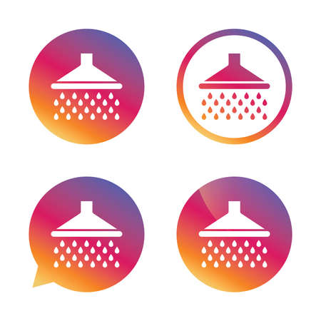 douche: Shower sign icon. Douche with water drops symbol. Gradient buttons with flat icon. Speech bubble sign. Vector Illustration