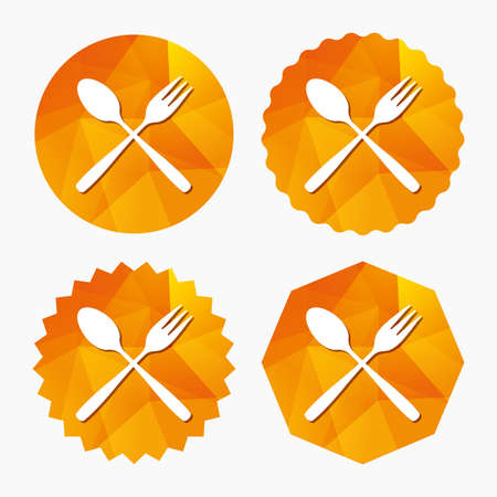 crosswise: Eat sign icon. Cutlery symbol. Dessert fork and teaspoon crosswise. Triangular low poly buttons with flat icon. Vector