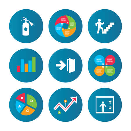 Business pie chart. Growth curve. Presentation buttons. Emergency exit icons. Fire extinguisher sign. Elevator or lift symbol. Fire exit through the stairwell. Data analysis. Vector Stock Illustratie