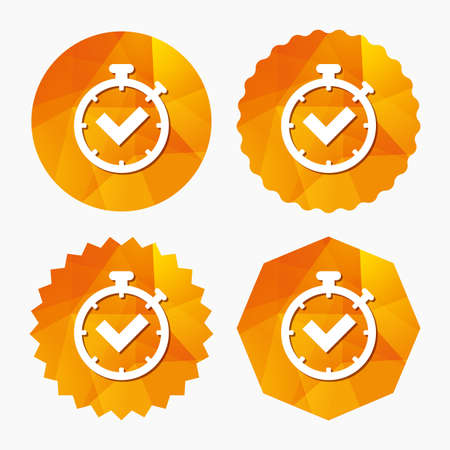 Timer sign icon. Check stopwatch symbol. Triangular low poly buttons with flat icon. Vector