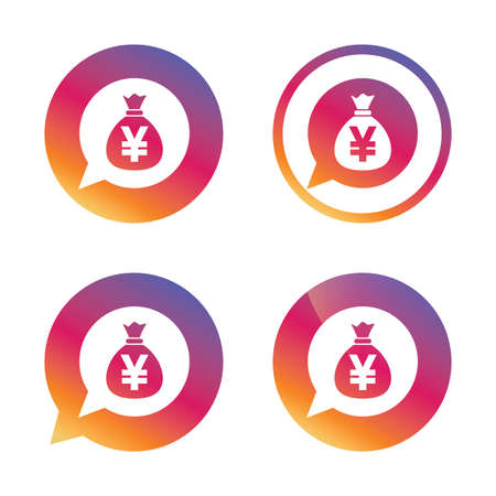 jpy: Money bag sign icon. Yen JPY currency speech bubble symbol. Gradient buttons with flat icon. Speech bubble sign. Vector