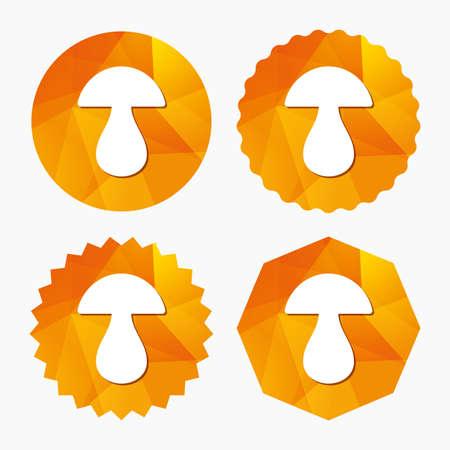 gravy: Mushroom sign icon. Boletus mushroom symbol. Triangular low poly buttons with flat icon. Vector