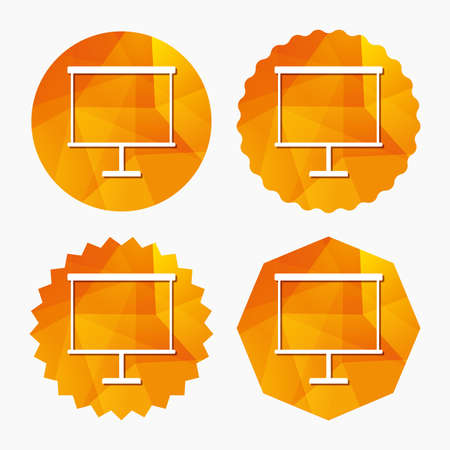 ppt: Presentation billboard sign icon. Clean board symbol. Triangular low poly buttons with flat icon. Vector