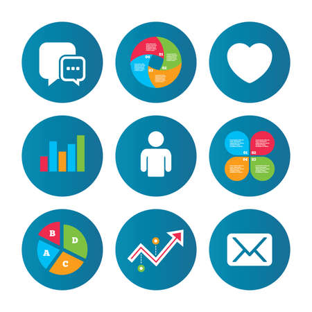 media love: Business pie chart. Growth curve. Presentation buttons. Social media icons. Chat speech bubble and Mail messages symbols. Love heart sign. Human person profile. Data analysis. Vector