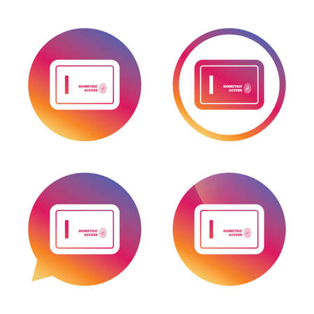 biometric: Safe sign icon. Deposit lock symbol. Biometric access by fingerprint. Gradient buttons with flat icon. Speech bubble sign. Vector