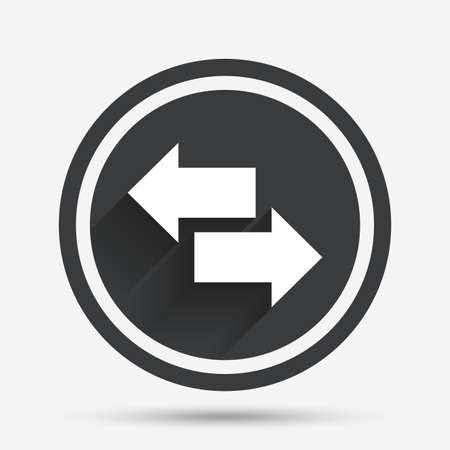 outgoing: Incoming and outgoing calls sign. Upload. Download arrow symbol. Circle flat button with shadow and border. Vector