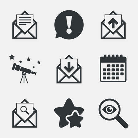 outbox: Mail envelope icons. Find message document symbol. Post office letter signs. Inbox and outbox message icons. Attention, investigate and stars icons. Telescope and calendar signs. Vector
