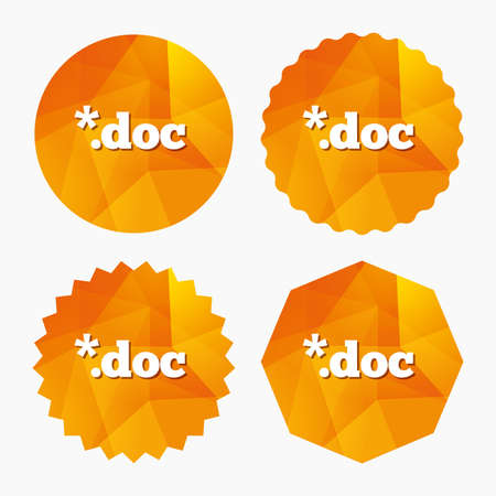 doc: File document icon. Download doc button. Doc file extension symbol. Triangular low poly buttons with flat icon. Vector Illustration