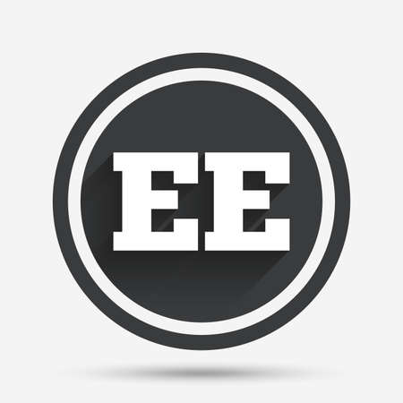 ee: Estonian language sign icon. EE translation symbol. Circle flat button with shadow and border. Vector Illustration