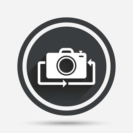 button front: Front photo camera sign icon. Digital photo camera symbol. Change front to back. Circle flat button with shadow and border. Vector