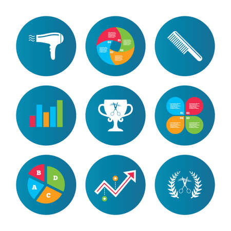 comb hair: Business pie chart. Growth curve. Presentation buttons. Hairdresser icons. Scissors cut hair symbol. Comb hair with hairdryer symbol. Barbershop laurel wreath winner award. Data analysis. Vector
