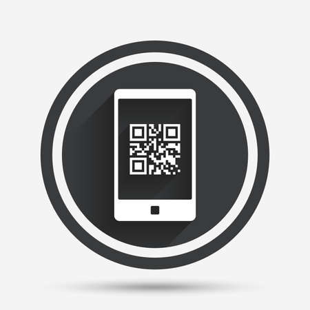 coded: Qr code sign icon. Scan code in smartphone symbol. Coded word - success! Circle flat button with shadow and border. Vector