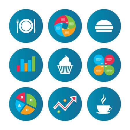 growth hot: Business pie chart. Growth curve. Presentation buttons. Food and drink icons. Muffin cupcake symbol. Plate dish with fork and knife sign. Hot coffee cup and hamburger. Data analysis. Vector Illustration