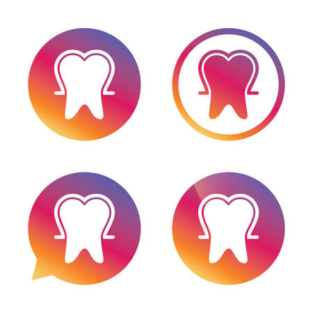 enamel: Tooth enamel protection sign icon. Dental toothpaste care symbol. Healthy teeth. Gradient buttons with flat icon. Speech bubble sign. Vector