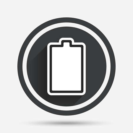 fully: Battery fully charged sign icon. Electricity symbol. Circle flat button with shadow and border. Vector