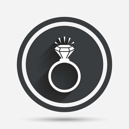 fiance: Ring sign icon. Jewelry with shine diamond symbol. Wedding or engagement day symbol. Circle flat button with shadow and border. Vector